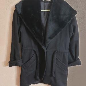 Black heavy coat hooded faux furr coller & hood